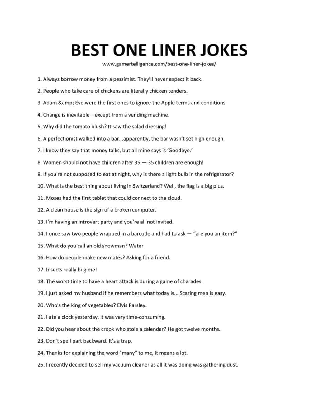 28 Best One Liner Jokes