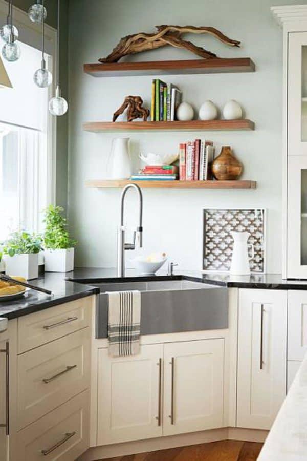 Elegant stainless steel corner sink (from midwestliving.com)