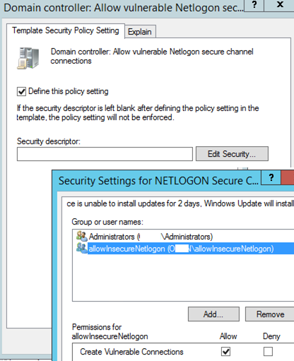 Enable vulnerable connections to the network login via GPOs