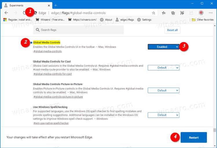 Enabling Global Media Controls in the Microsoft Edge Toolbar