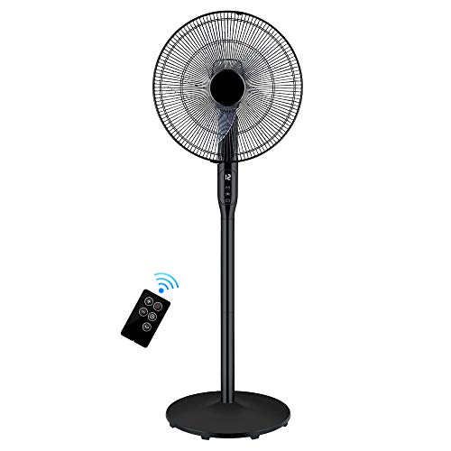 Floor fan - Swivelling floor fan with remote control and powerful 12-speed control and integrated timer - Height and tilt adjustment - Quiet floor fan with floor...