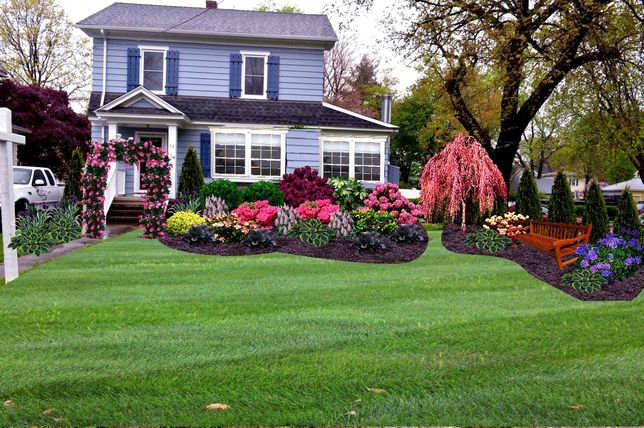 Front garden with a beautiful flower bed