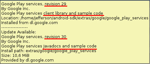 "Missing ""/extras/google/google_play_services/libproject"" folder after update to revision 30 –"