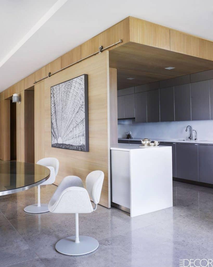 Grey cabinets in a modern kitchen (from elledecor.com)