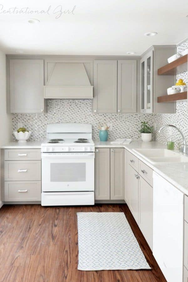 grey cabinets with stains on the back (from centsationalstyle.com)