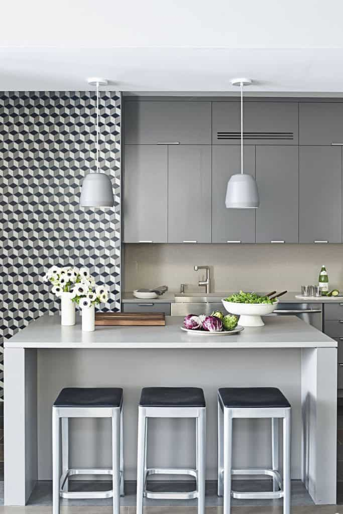 Grey closets with tiled walls (from housebeautiful.com)