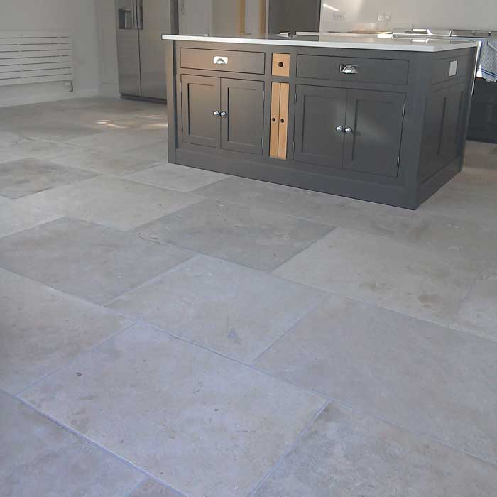 grey limestone floor in the kitchen