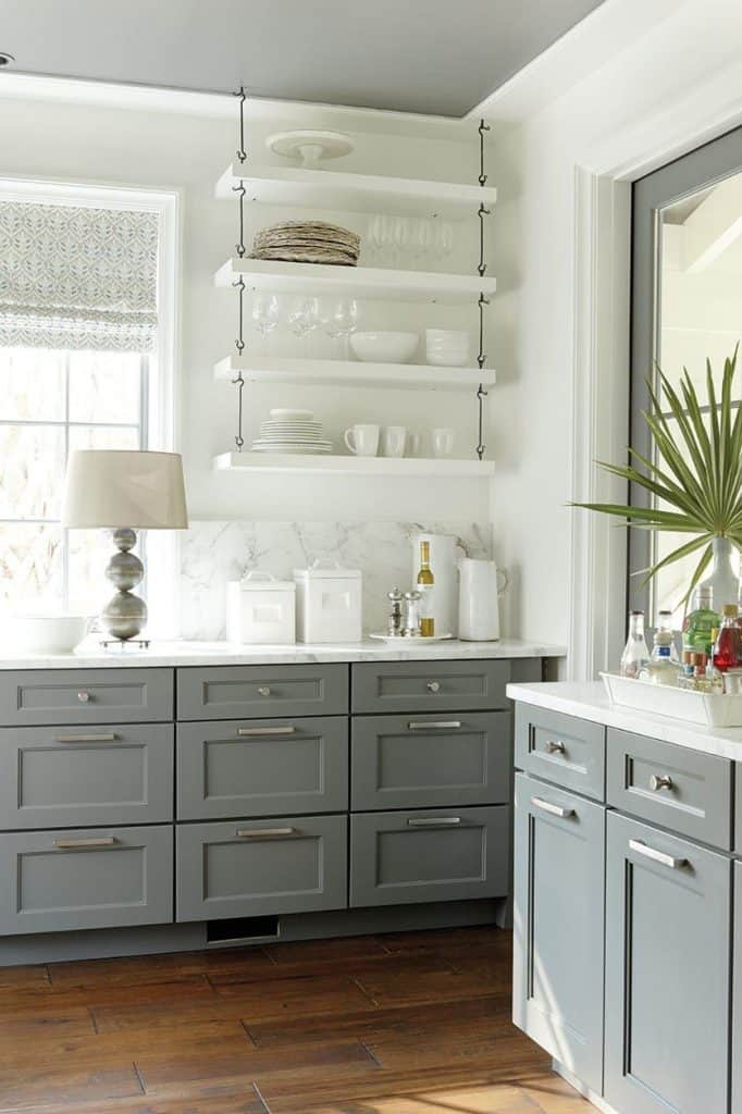 Grey pedestal cupboards with contrasting white wall (from ballarddesigns.com)