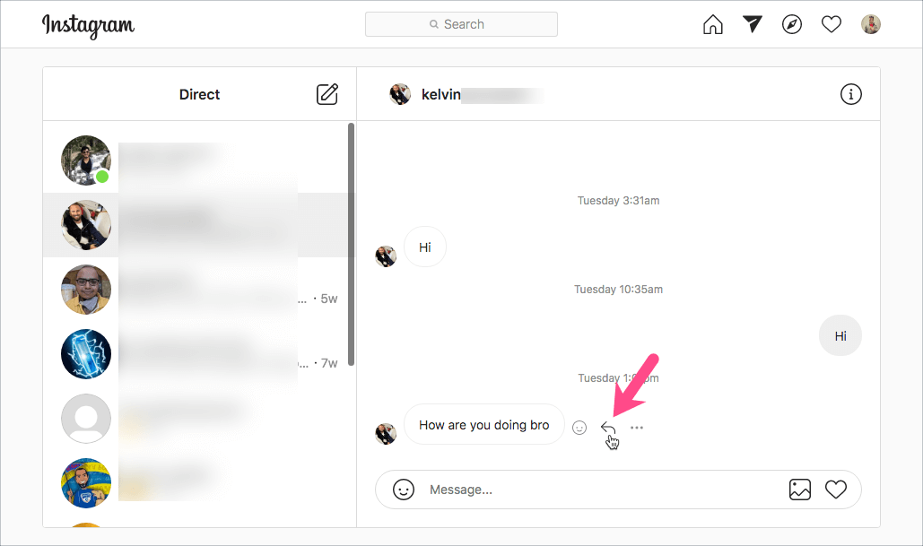 Here is how to reply to the various Instagram messages on your desktop.
