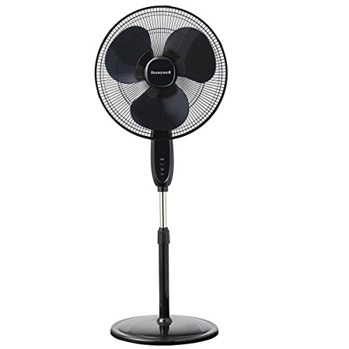 Honeywell Double Blade 16 Pedestal Fan Black with remote control, oscillation, automatic shutdown and 3 power levels
