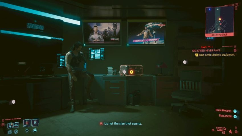 Greed Never Pays gig – Cyberpunk 2077 – How to get into Leah Gladen's apartment and get the lockbreaker device
