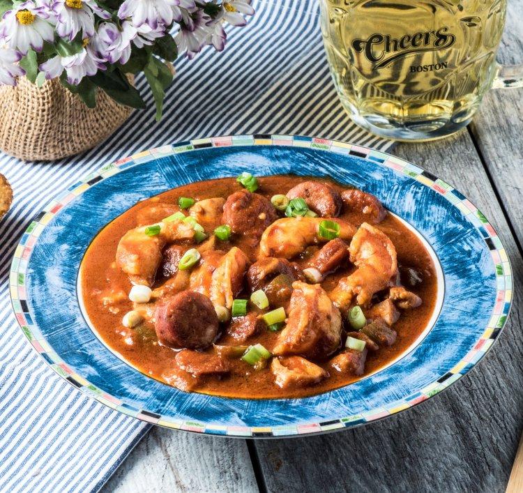 Keto Chicken Shrimp Gumbo with Sausage