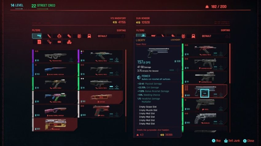 Every Legendary weapon and their location in Cyberpunk 2077