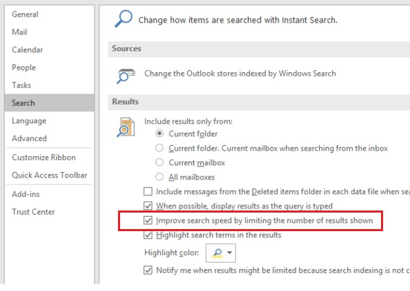 Improve search speed by restricting the number of results displayed