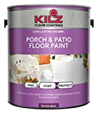 KILZ L573611 Latex for porch and patio floors, interior/exterior paint, low gloss, silver grey, 1 Gallon, 4 L