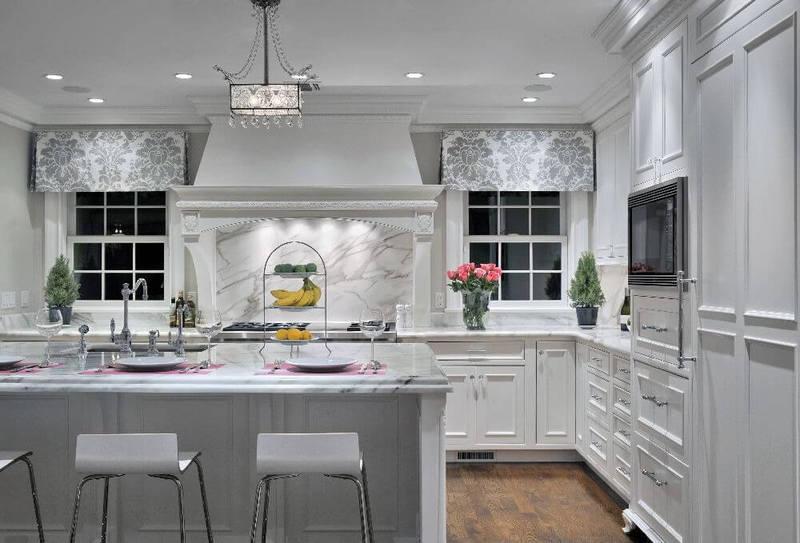 Kitchen pattern in white marble