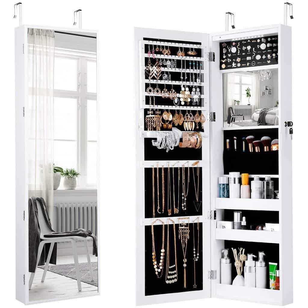 LANGRIA 10 LED wall doors installed in a full-screen mirror cabinet Control room organiser