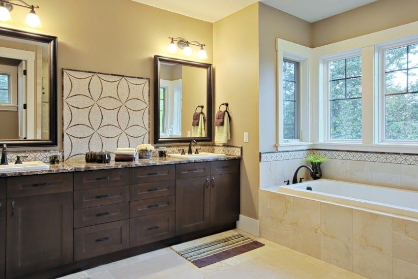luxurious bathroom with granite