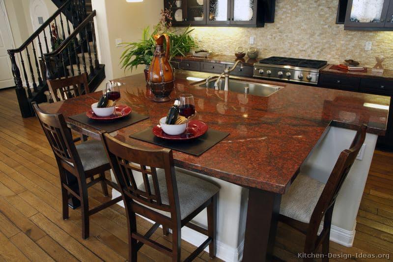 Luxurious Rote Granite Kücheninsel Grandertop