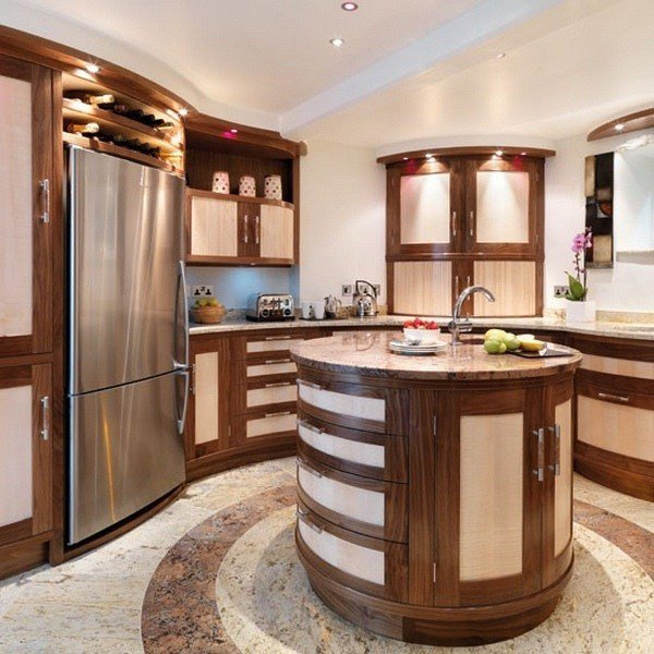 Made-to-measure walnut kitchen cabinets