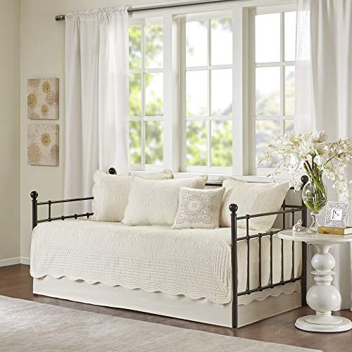 Madison Park Daybed Cover Set Fashionable Damask Duvet with Scalloped Edge Luxury All Season Bedding with Skirt, Matching Shams, Decorative Pillows, 75'x39', Tuscany Cream, 6 pieces.