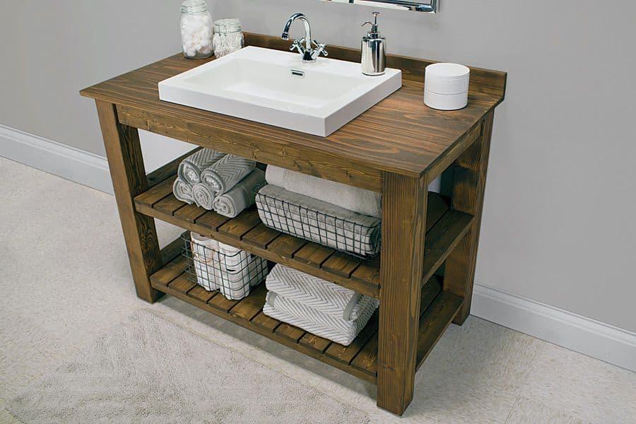 Minimalist Wooden Vanity (by. buildsomething.com)