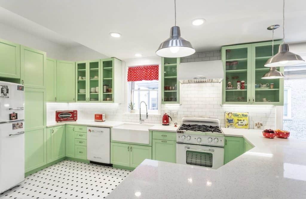modern kitchen in green and white (on adammilton.com)