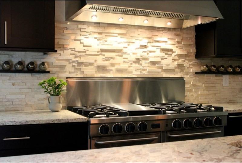 Modern style stone kitchen backsplash
