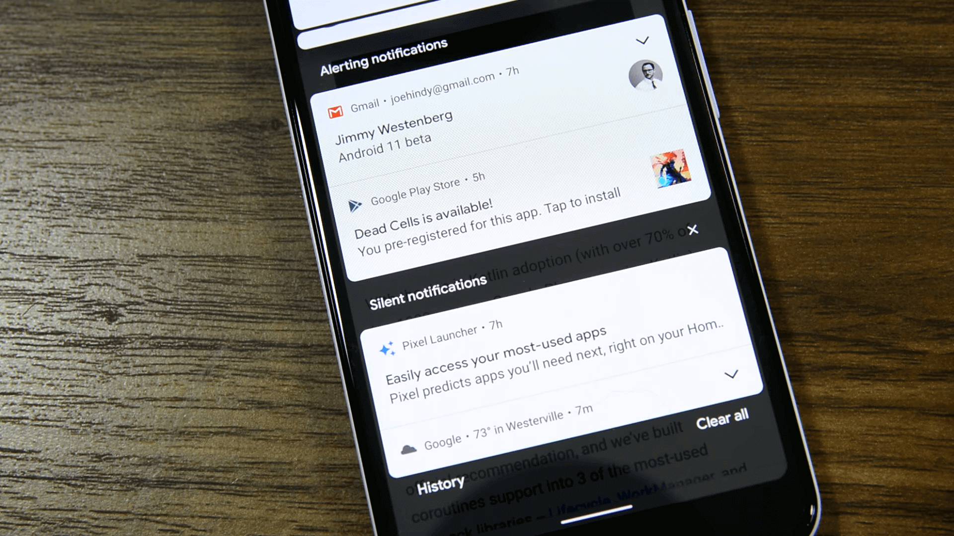 Notification functions organized by Android 11s