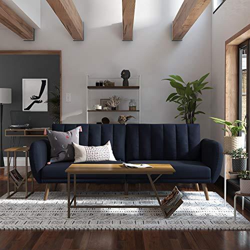 Novogratz Breton Futon Sofa - Apple and wooden legs - Navy blue
