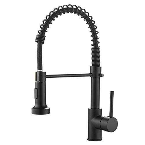OWOFAN Commercial Solid Brass Single Handle Loaded Kitchen Sink Sprayer, Brushed Black 9009R