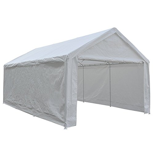 Patio Abba extra large garage with removable side walls portable carport boat shelter tent for parties, weddings, garden shed 8 ft, 12 x 20 ft, white