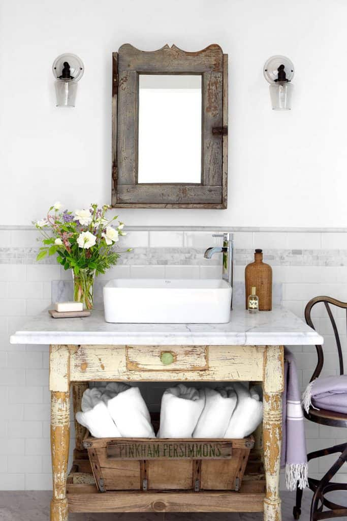 Reclaimed Drawer with Marble (by. countryliving.com)