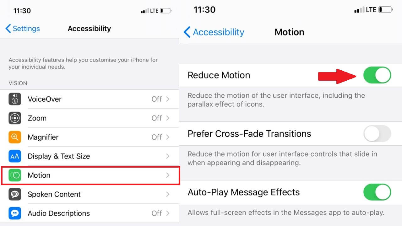 Reduce movement on the iPhone