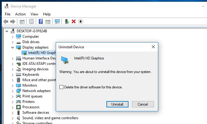 Removing the graphic driver