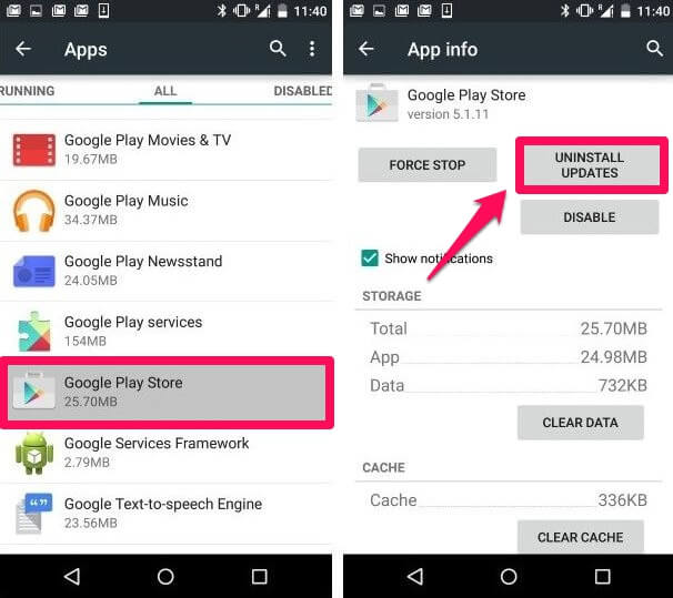 Removing updates from the Google Play Store