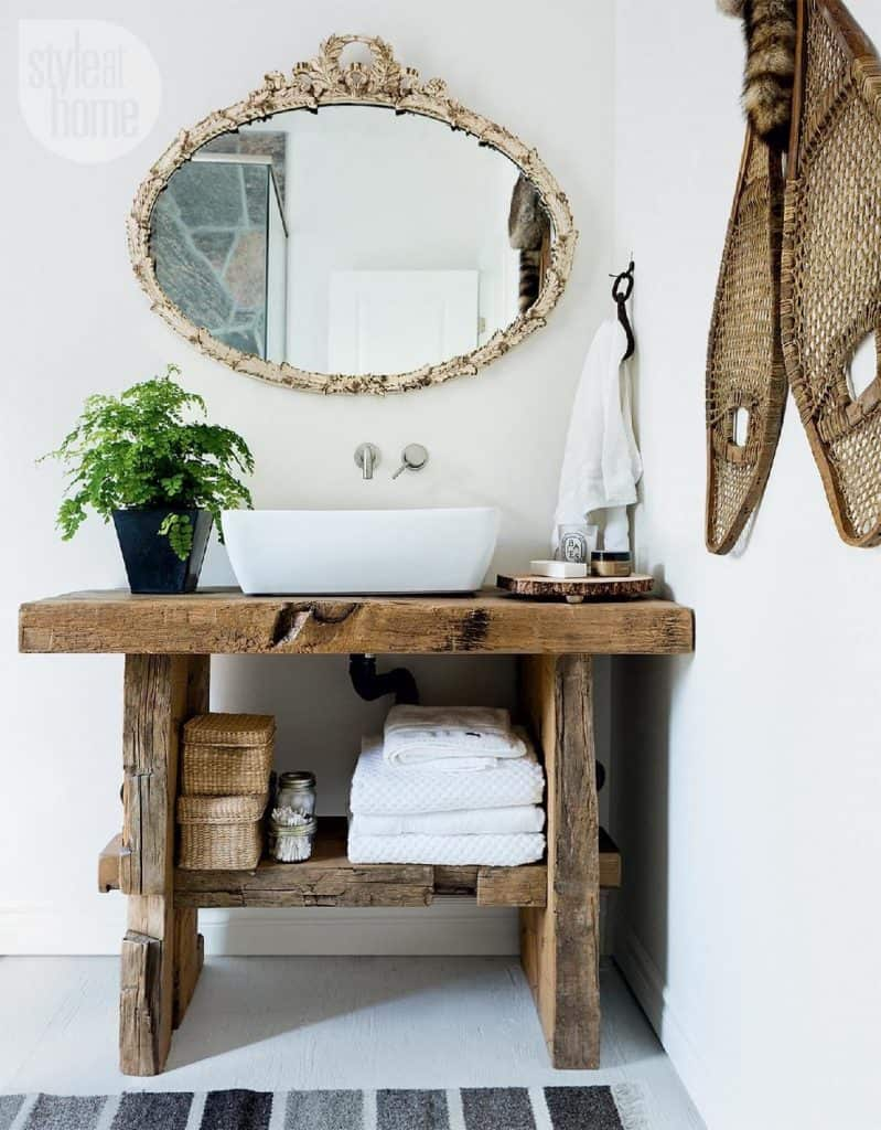 Repurposed Table with Farmhouse Sink (by. styleathome.com)