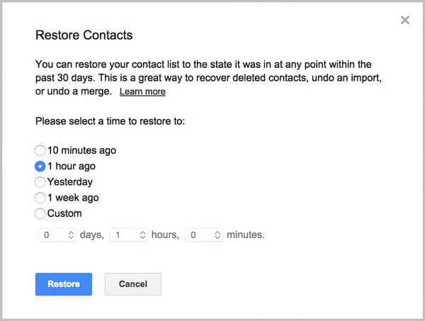 Restore lost Android contacts from Gmail backup after a reboot
