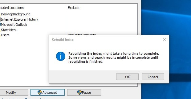 Restore the search index window