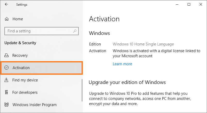 Restore Windows - Windows 10 - Settings - Update and security - Activation - Windows Wally