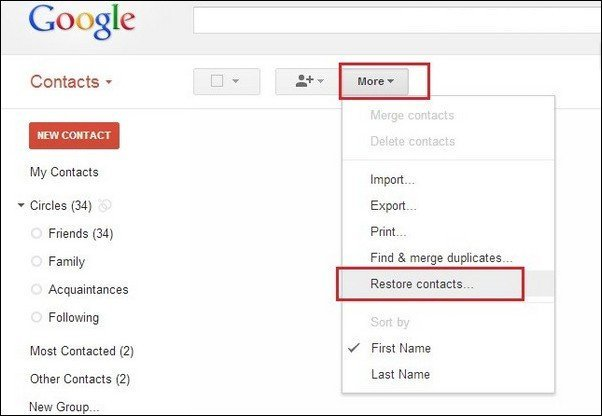 Restoring contacts from Gmail backup
