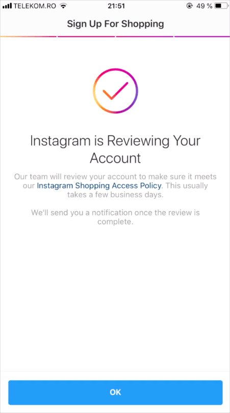 Review of the Instagram purchase account