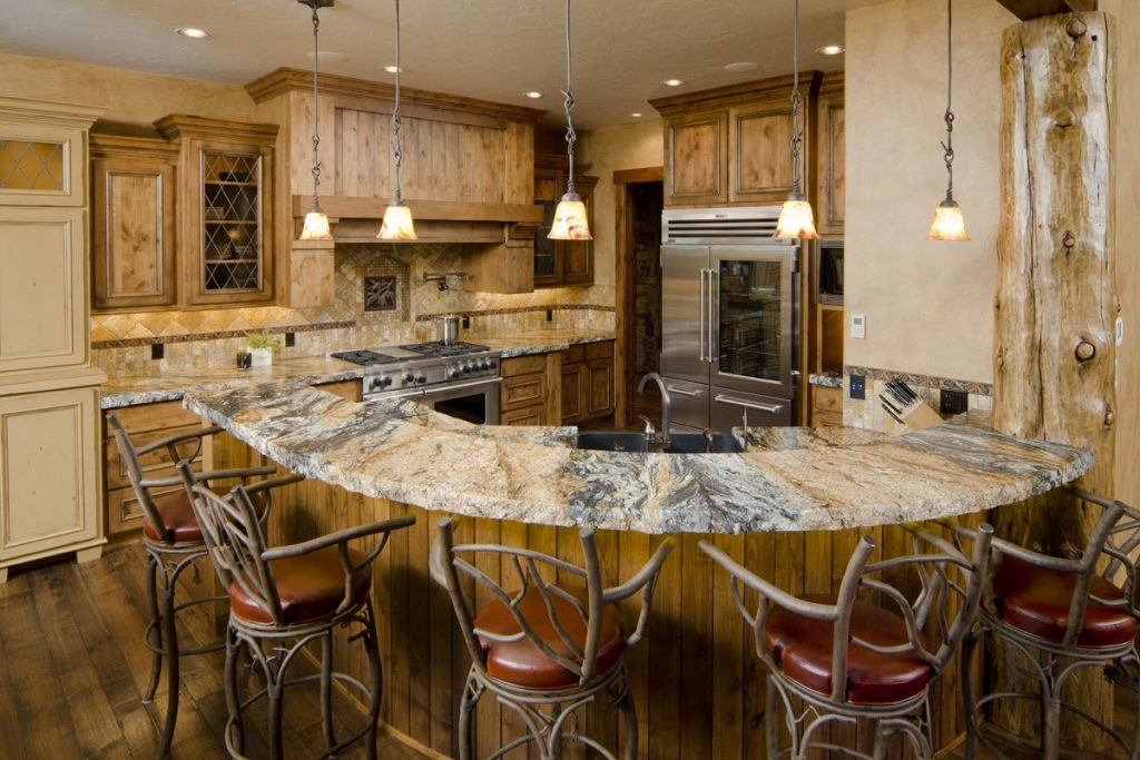 Rustic kitchen with sturdy chairs
