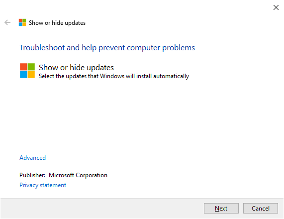 Show or hide updates - Windows Wally
