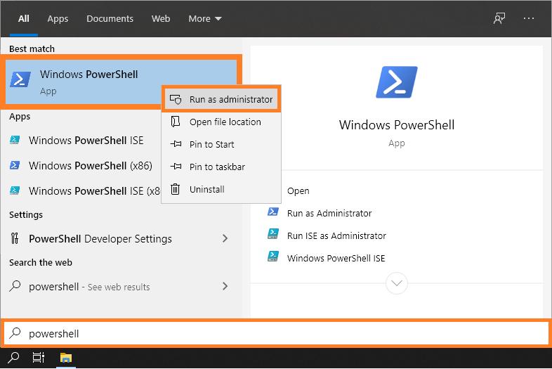 Signature window - Start menu - PowerShell - Run as administrator - Windows 10 - Windows Wally