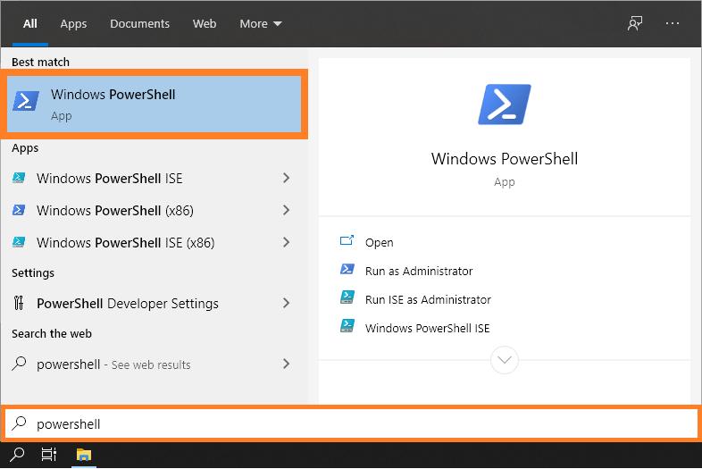 Signature window - Start menu - PowerShell - Windows 10 - Windows Wally