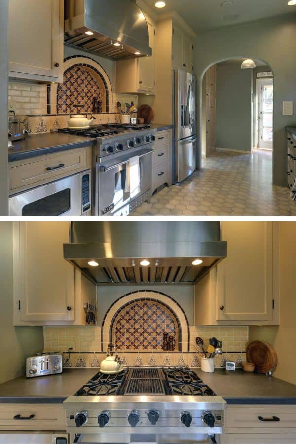 Small Spanish kitchen with curved decorative tiles (par. hgtv.com)