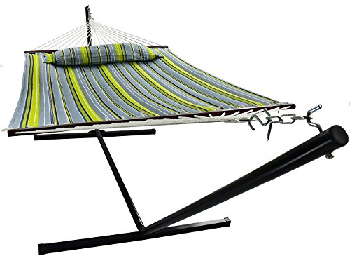 Sorption hammock with cabin and extensions and removable cushion, durable, 450 lb capacity, for 2 persons, ideal for terrace/outdoor, deck, garden (Hammock with cabin, green/blue color)