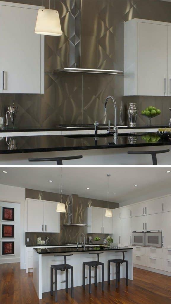 Stainless steel backsplash with optical illusion (par. eurocraftinteriors.com)