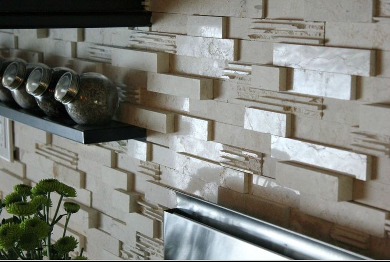 The idea of a small column in a stone kitchen wall covering